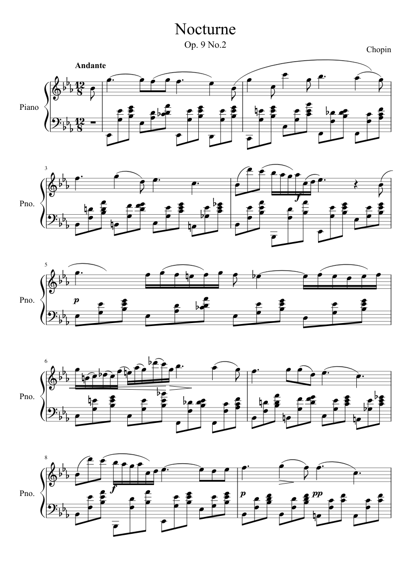 Download nocturne, op 9 no. 2, (abridged) for violin or flute and.