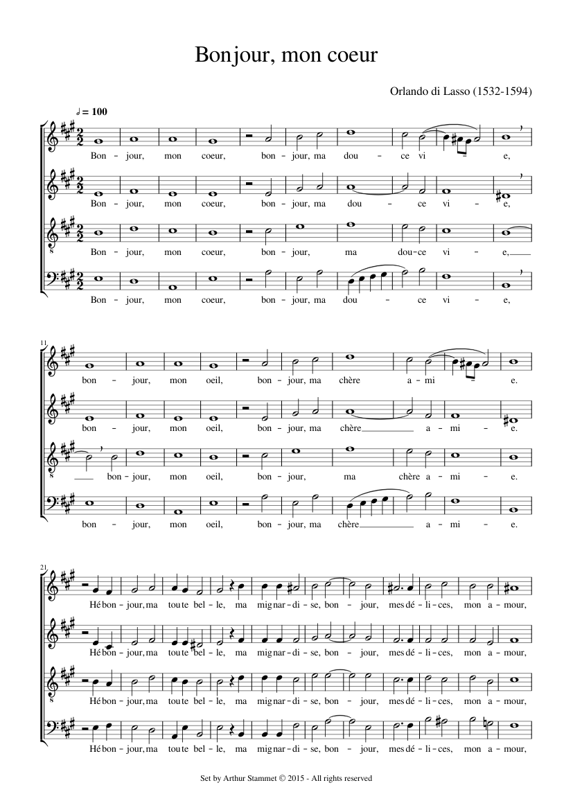 Bonjour Mon Coeur Sheet Music For Voice Download Free In