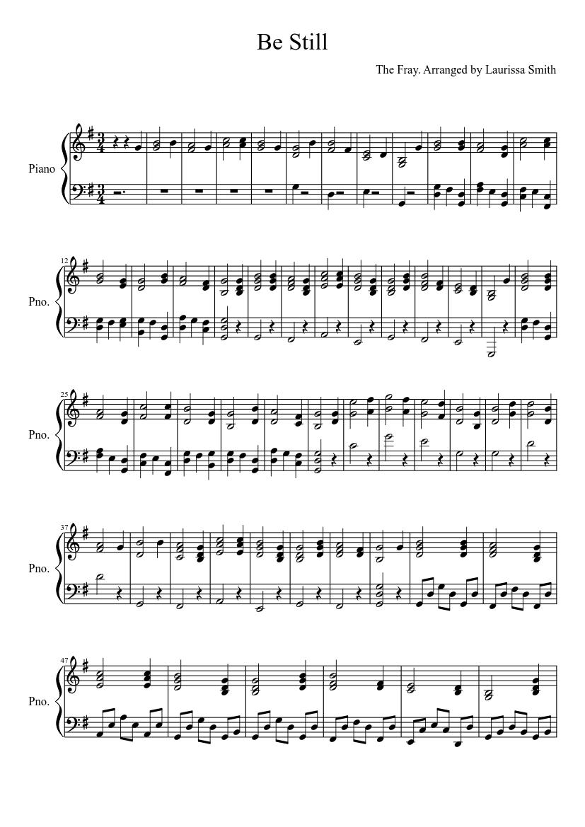 be still the fray piano sheet music free