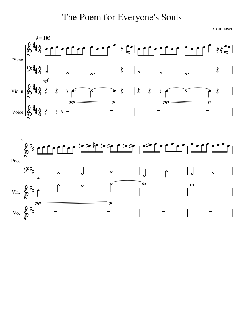 The Poem For Everyones Souls Wip Sheet Music For Piano
