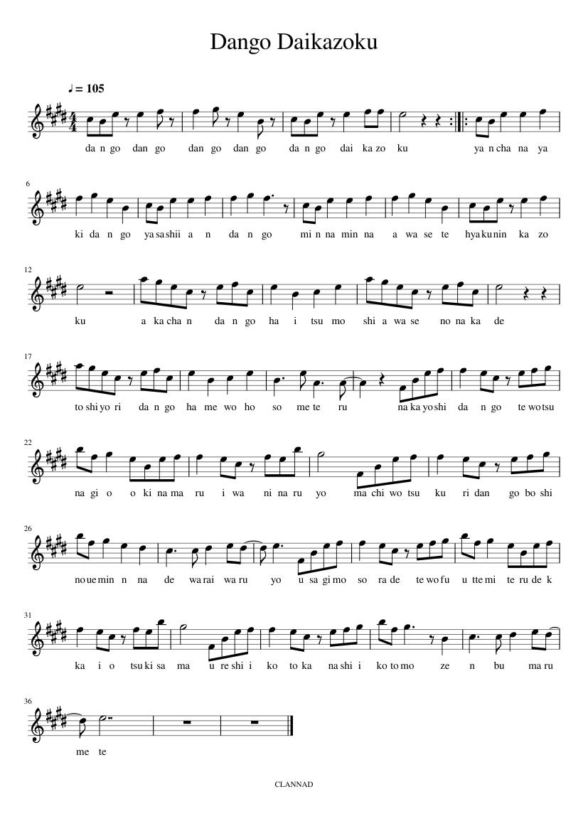 Clannad dango daikazoku (violin) sheet music for violin download.