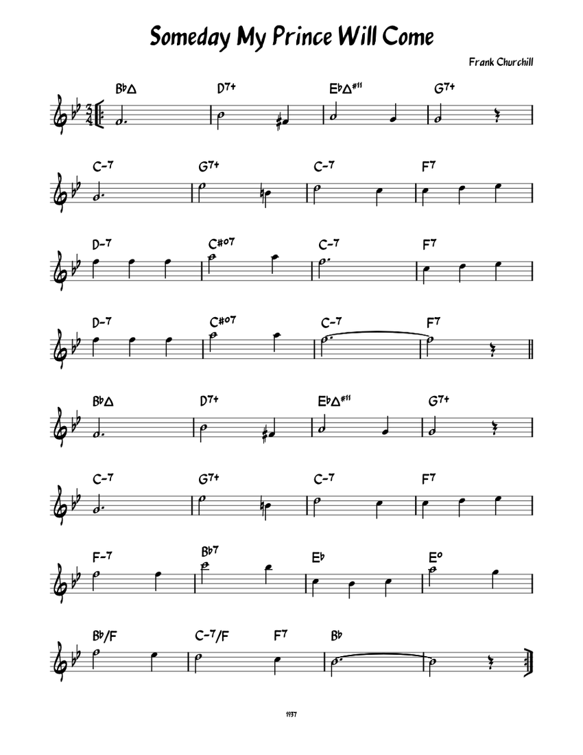 Someday My Prince Will Come Leadsheet Sheet Music For Piano Solo Musescore Com
