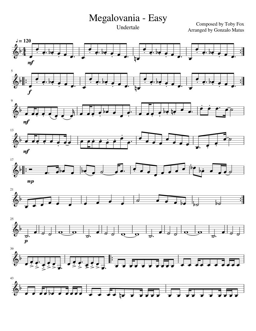 Megalovania Easy Violin Solo Sheet Music For Violin Solo Musescore Com
