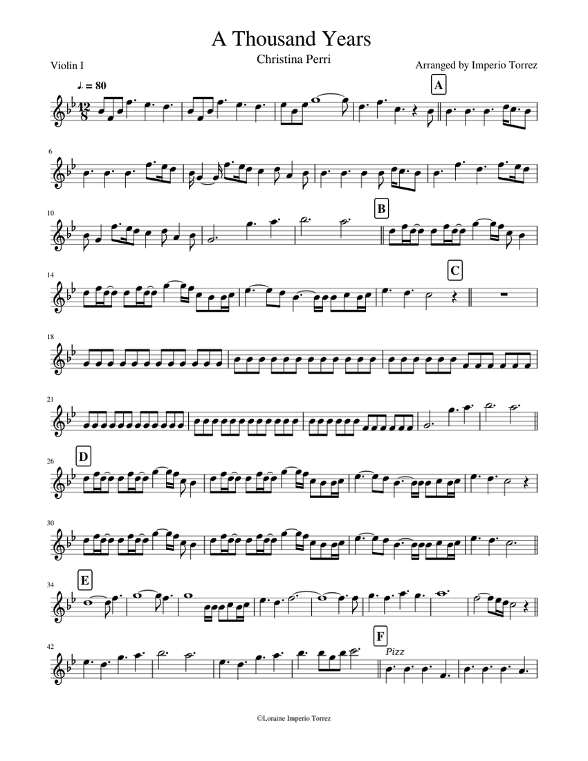 A Thousand Years Violin I Sheet Music For Violin Solo Musescore Com