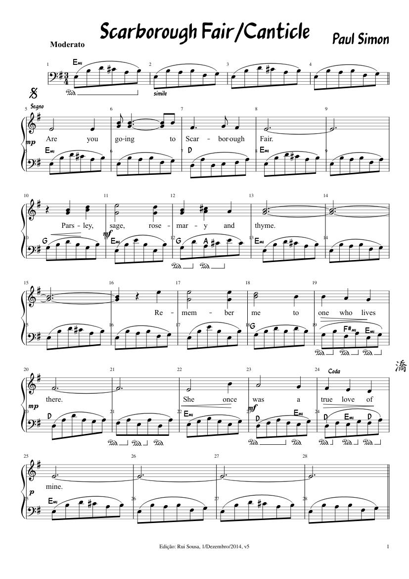 Scarborough Fair Paul Simon And Art Garfunkel Sheet Music For Piano Piano Duo Musescore Com