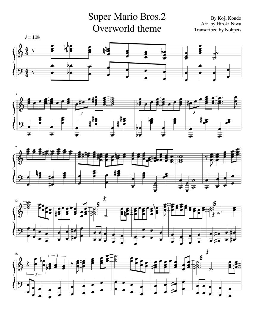 Super Mario bros 2 Overworld Theme sheet music for Piano download