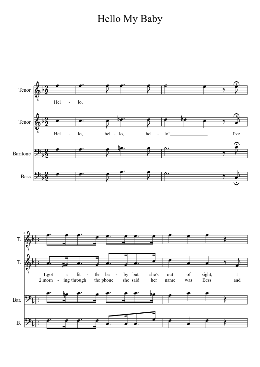 Hello My Baby sheet music download free in PDF or MIDI