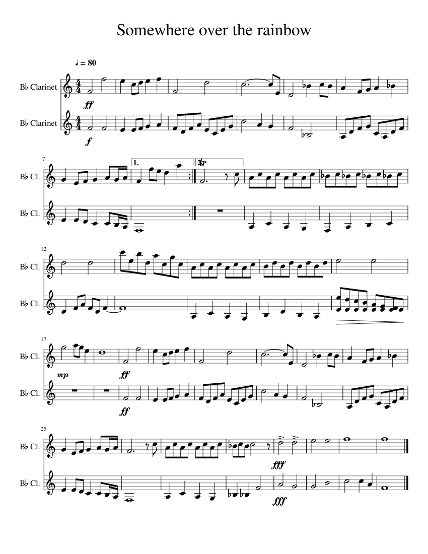 somewhere over the rainbow sheet music for clarinet (in b flat) (woodwind  duet)   musescore.com  musescore.com