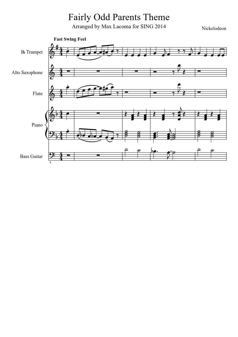 Fairly Odd Parents Photos fairly odd parents theme sheet music for flute, piano