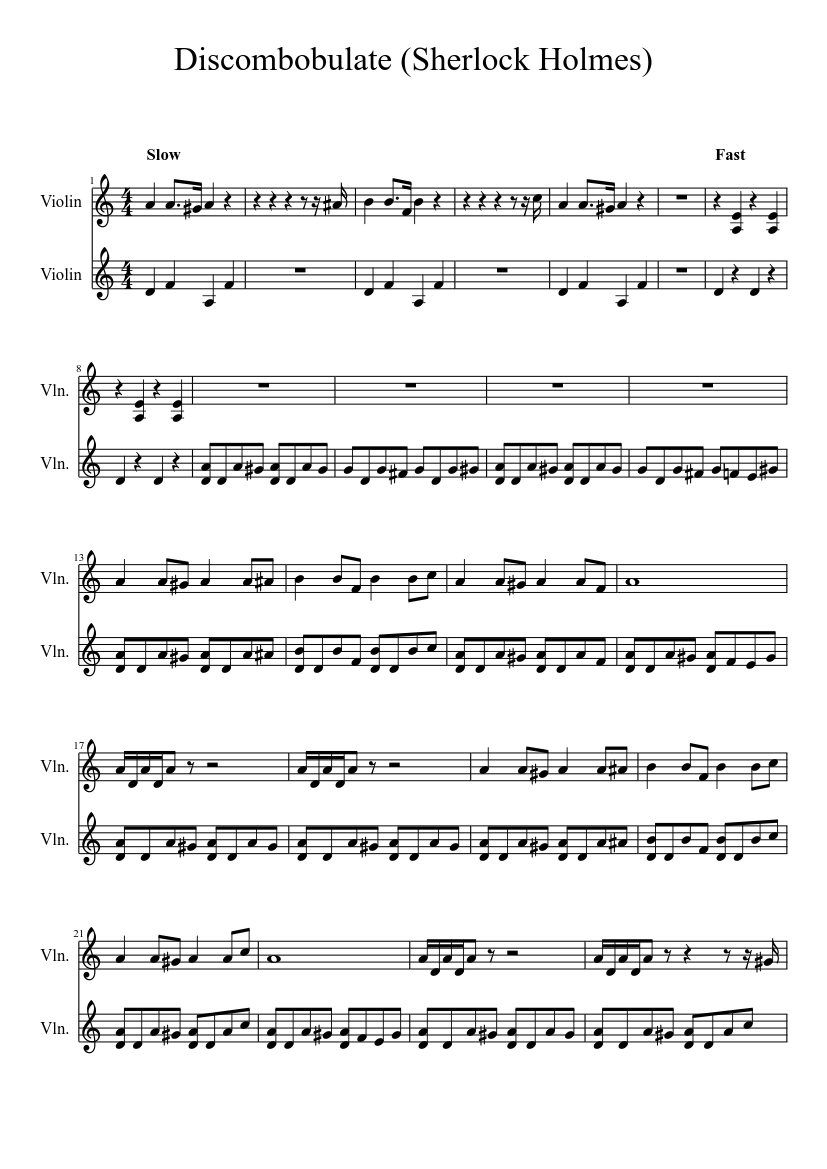 Discombobulate Sherlock Holmes Movie Sheet Music For Violin