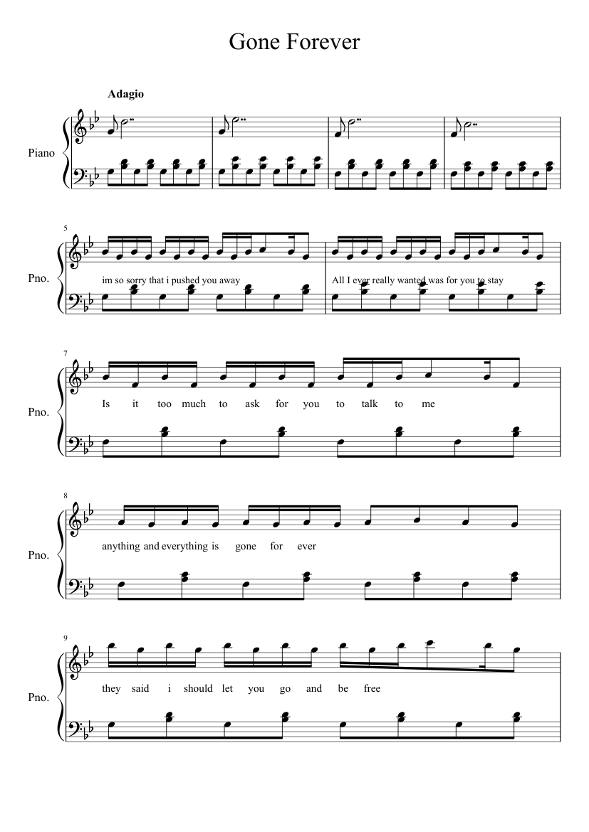 Gone Forever sheet music – 1 of 6 pages