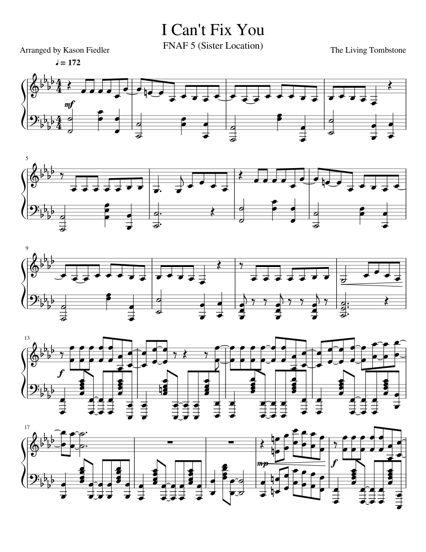I Cant Fix You Sheet Music Composed By The Living Tombstone 1 Of