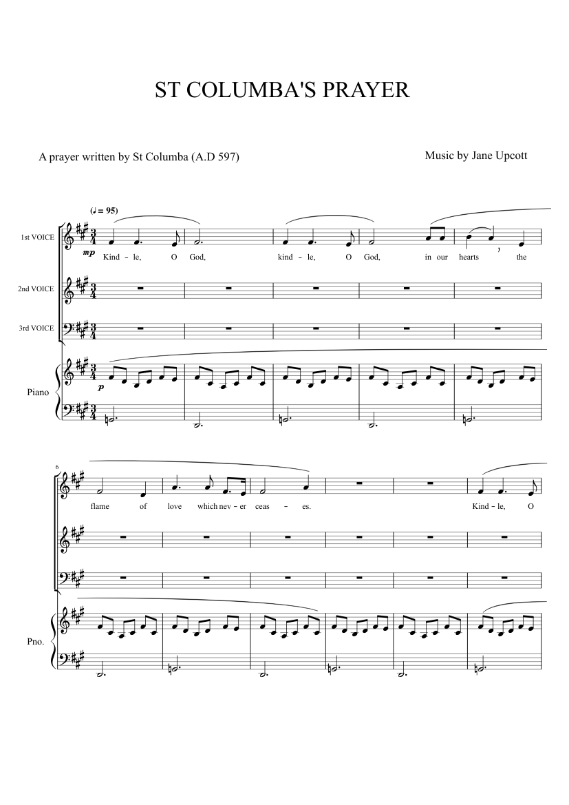 ST COLUMBA'S PRAYER sheet music for Clarinet, Flute, Piano