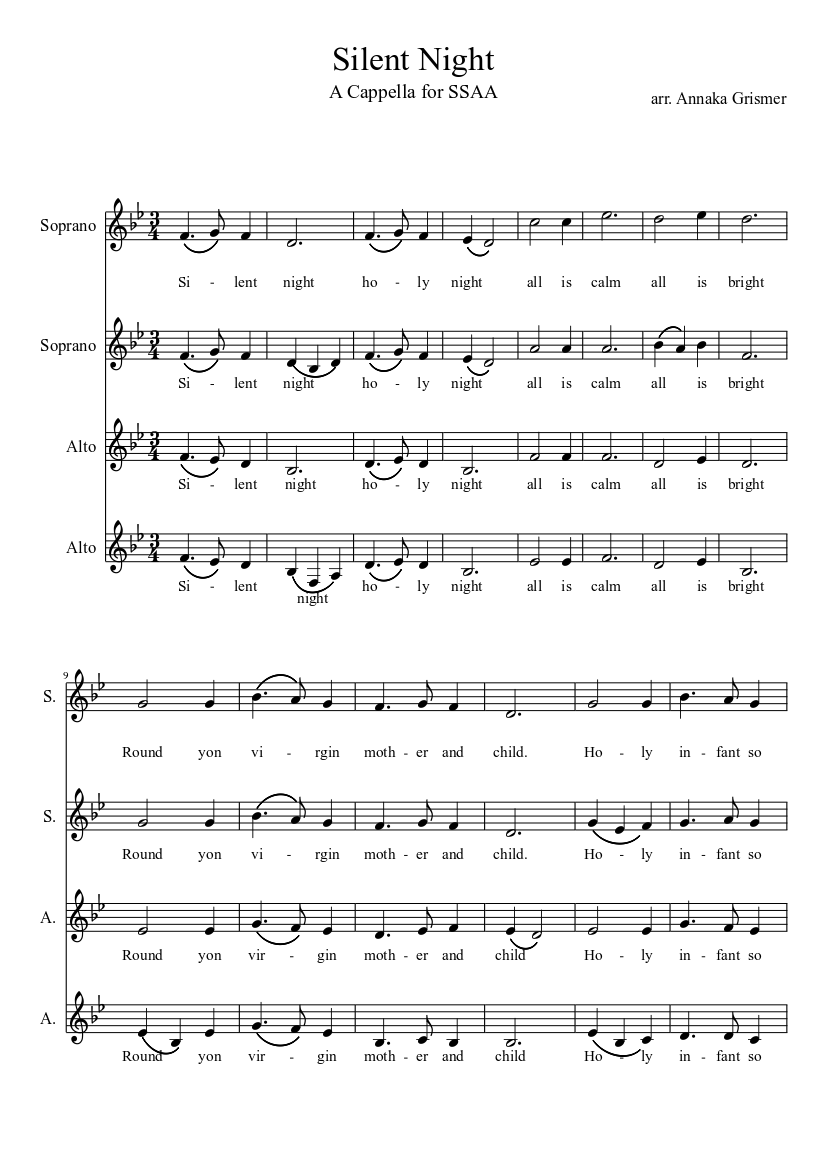 Silent Night (a cappella) sheet music download free in PDF or MIDI