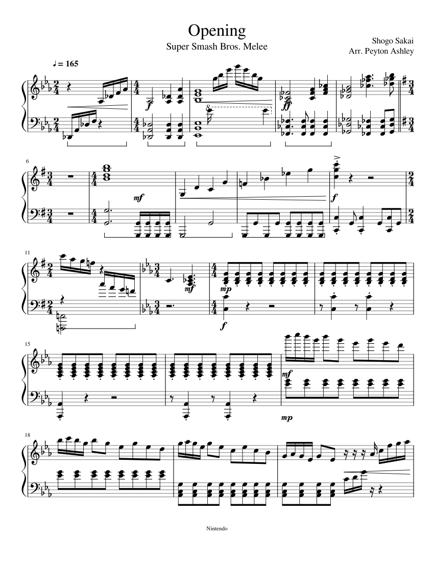 Opening sheet music composed by Shogo Sakai Arr. Peyton Ashley – 1 of 3 pages