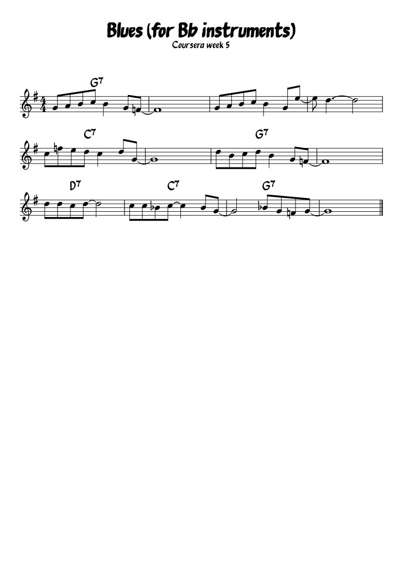 Blues (Coursera week 5) sheet music download free in PDF or MIDI