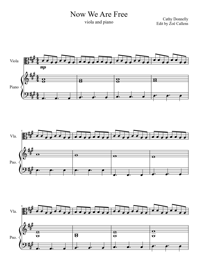 now we are free viola and piano sheet music for piano viola