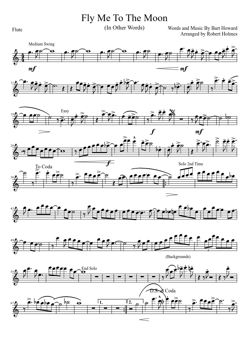 fly me to the moon flute sheet music free