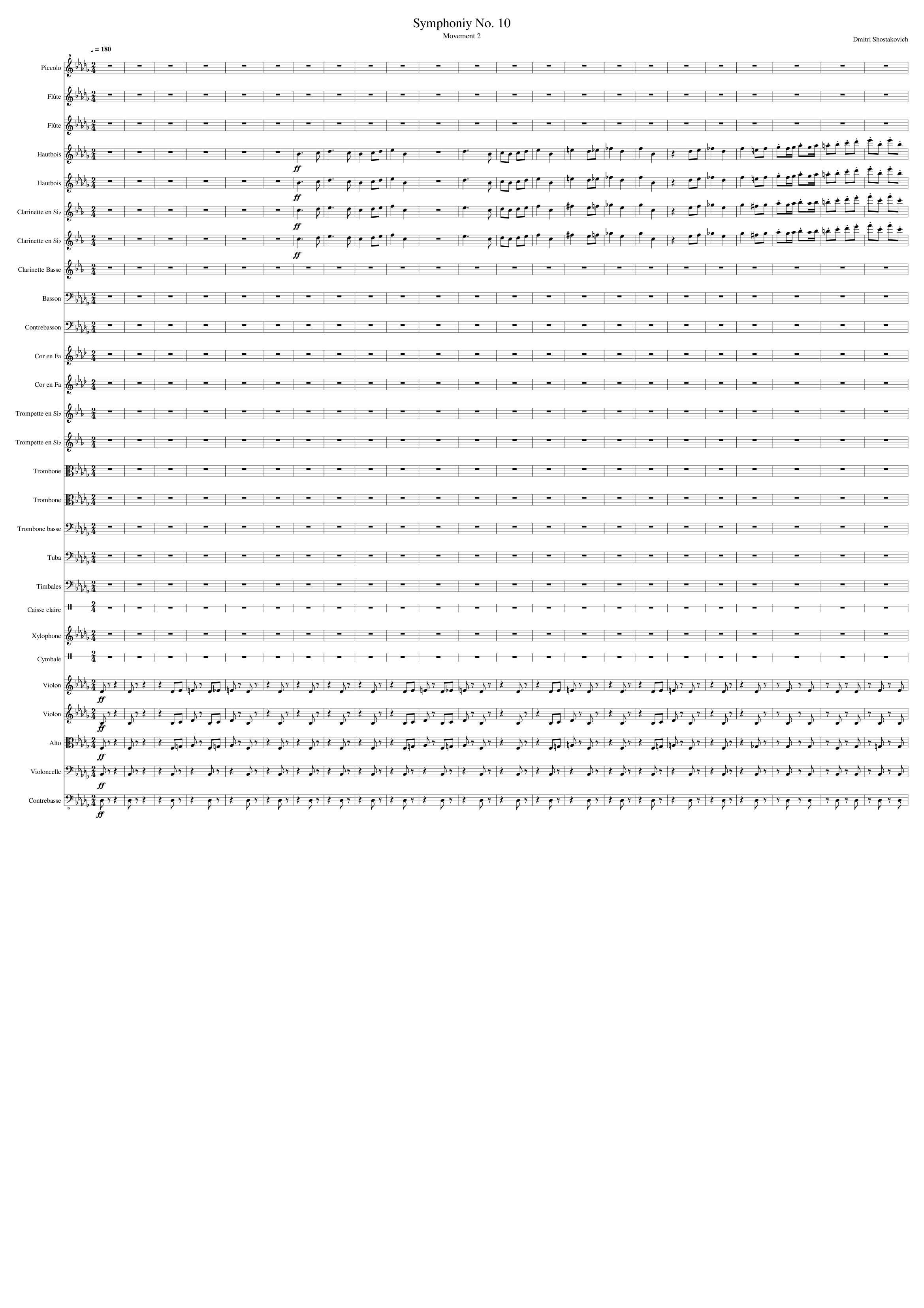 Symphonie No  10, mouvement 2 (Dmitri Shostakovich) sheet music for