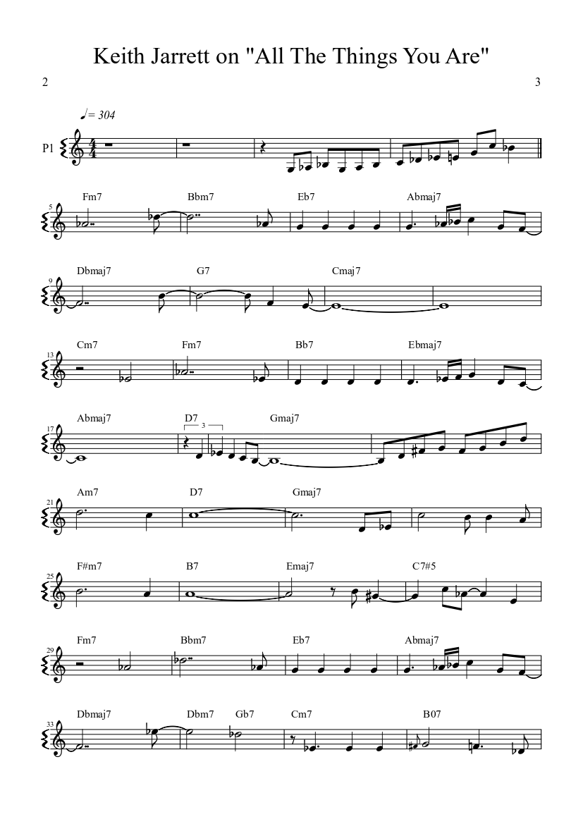all the things you are sheet music free