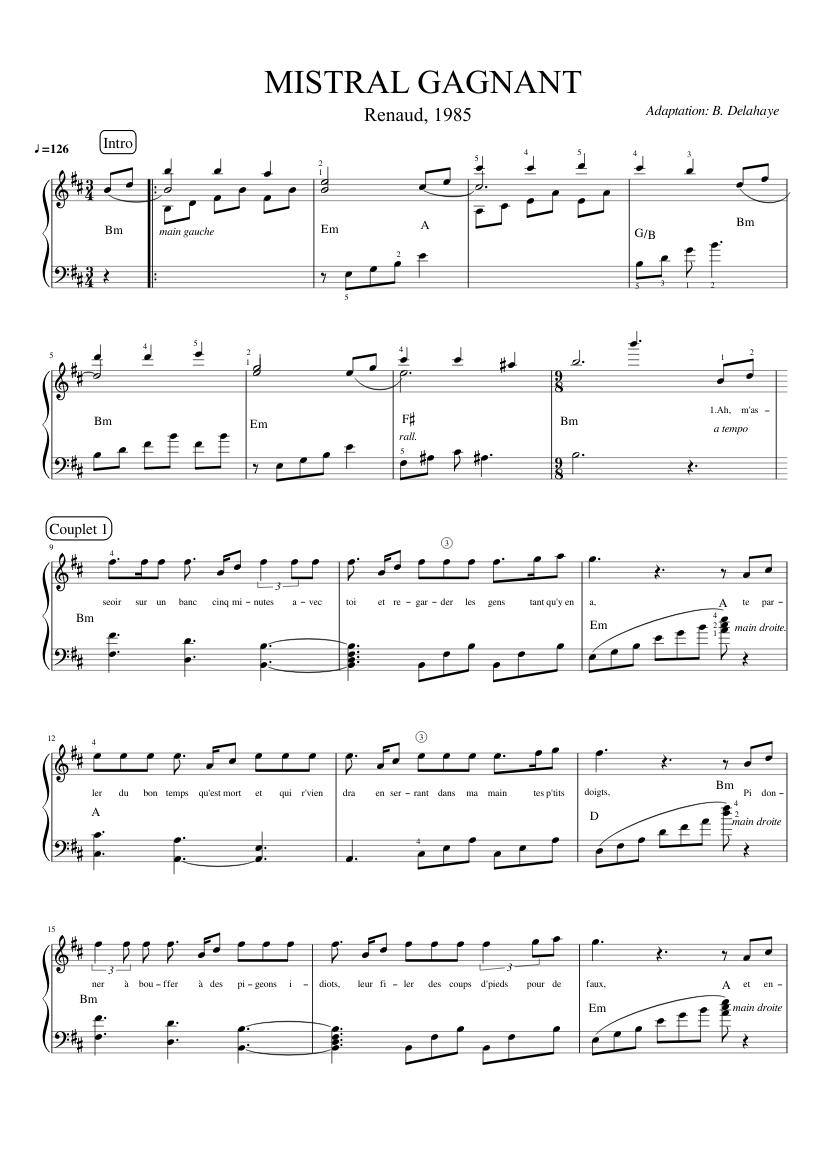 mistral gagnant piano sheet pdf