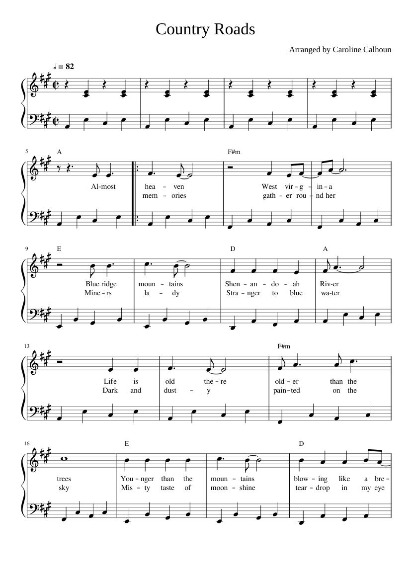 Take Me Home Country Roads John Denver piano sheets