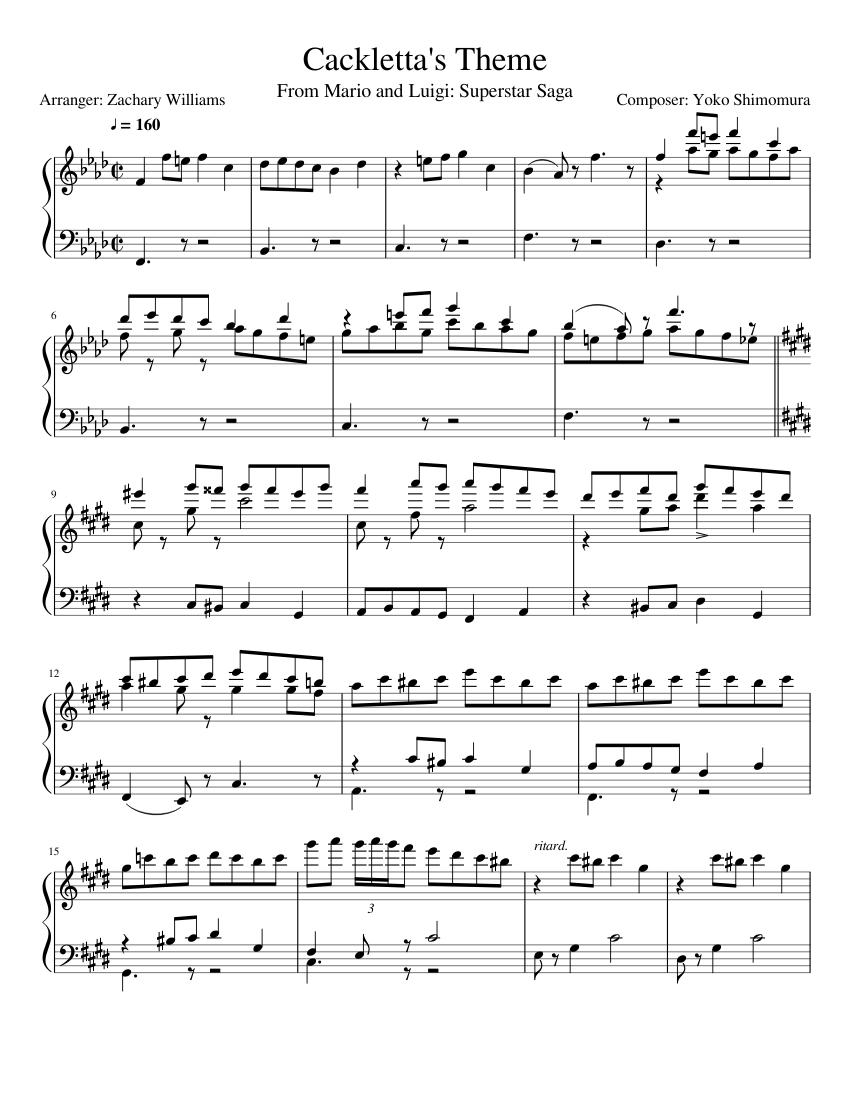 Cackletta S Theme Sheet Music For Piano Solo Musescore Com