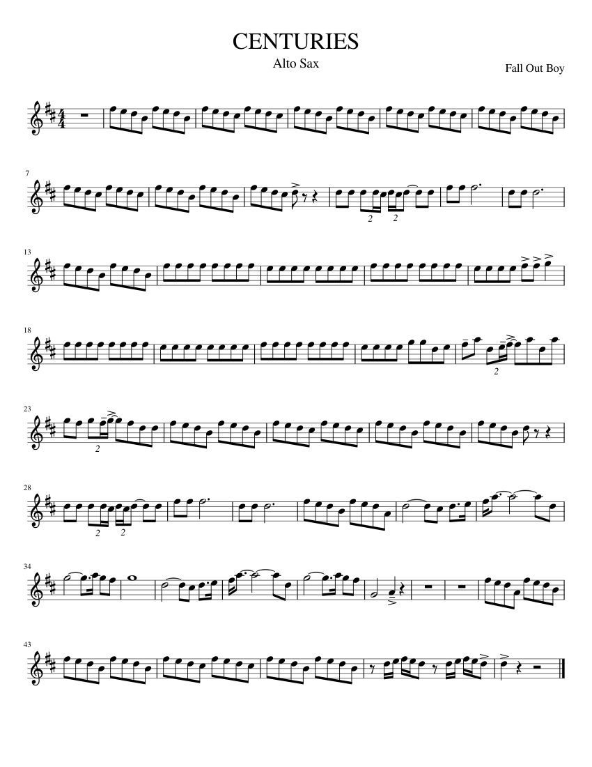Fall Out Boy Centuries Alto Sax For Band Sheet Music