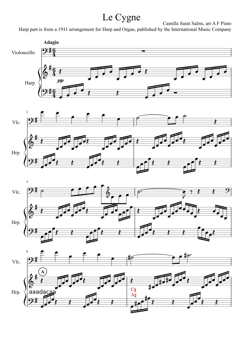 Le Cygne (The Swan) for Harp and Cello sheet music for Cello, Harp