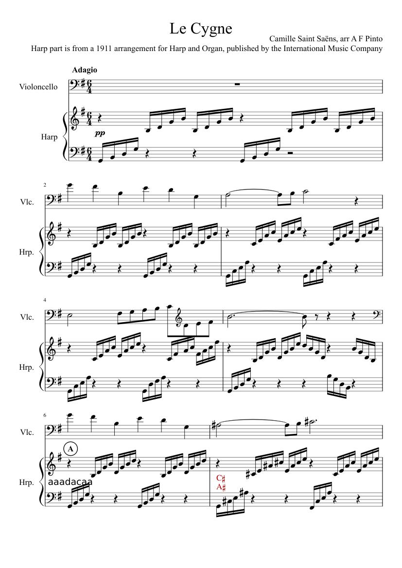 the swan cello sheet music
