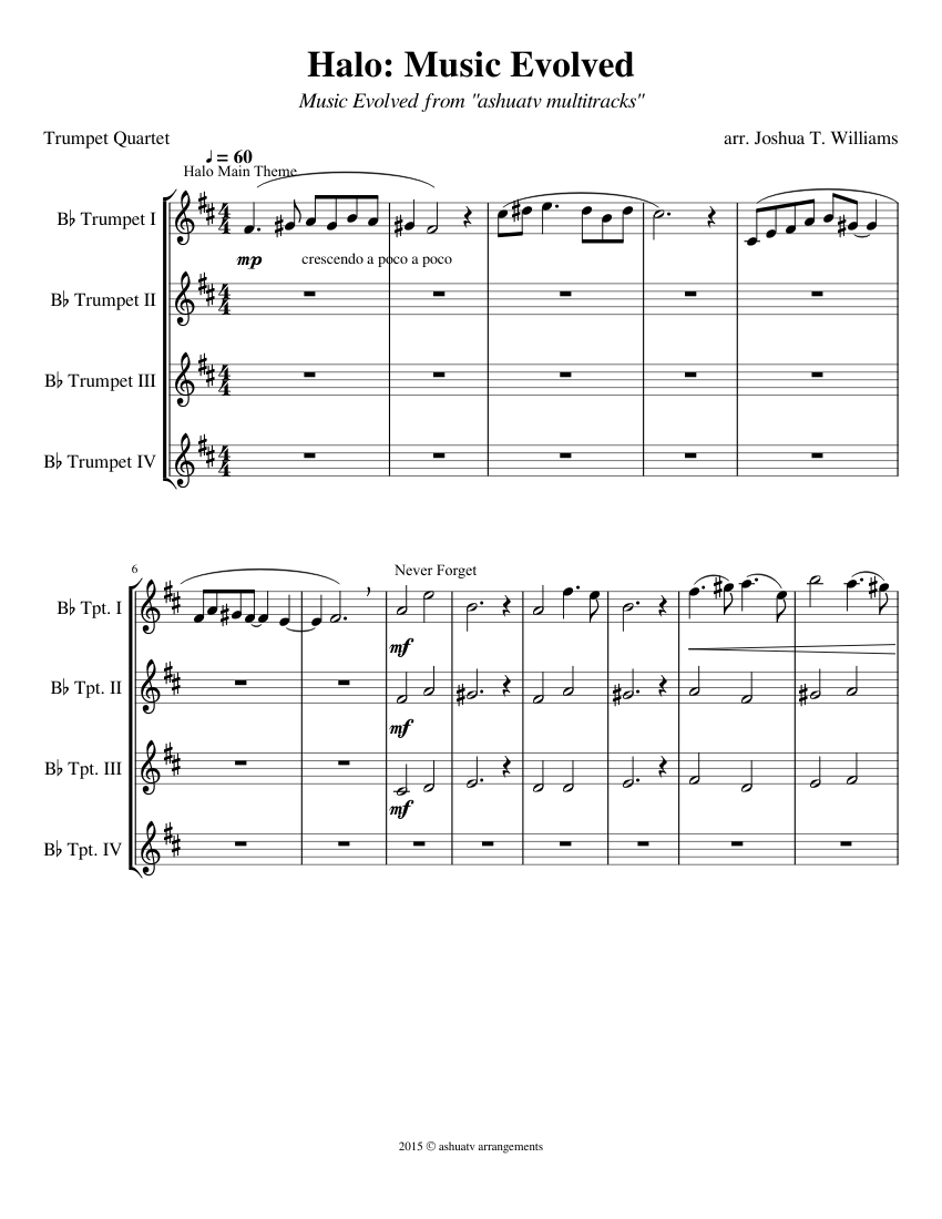 Halo Music Evolved Halo Medley Trumpet Quartet Sheet Music For