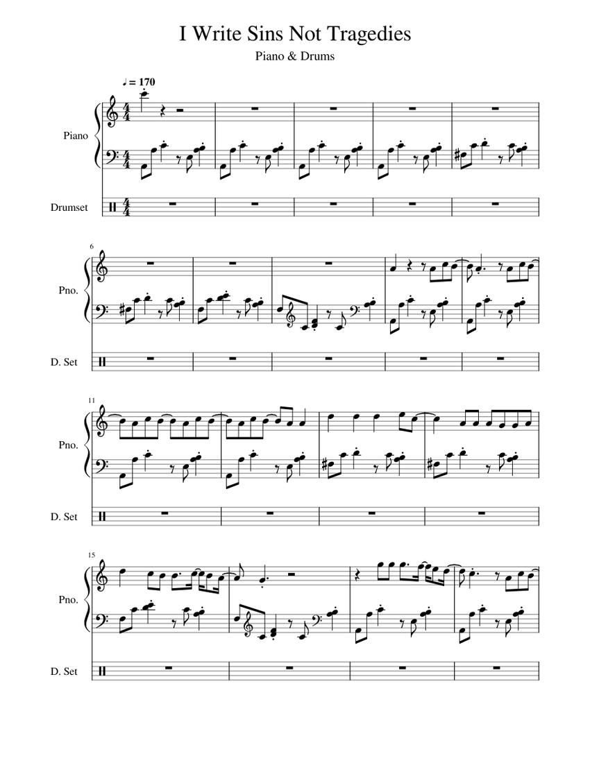 Download I Write Sins Not Tragedies Piano Sheet Music Background