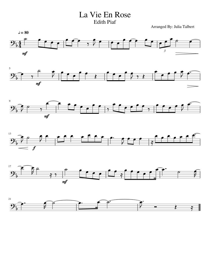 la vie en rose sheet music for trombone (solo)   musescore.com  musescore.com