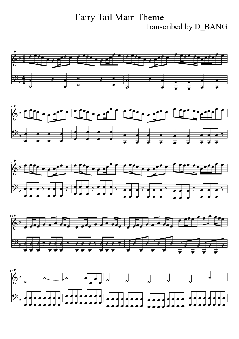 Fairy Tail Main Theme Sheet Music Download Free In Pdf Or Midi