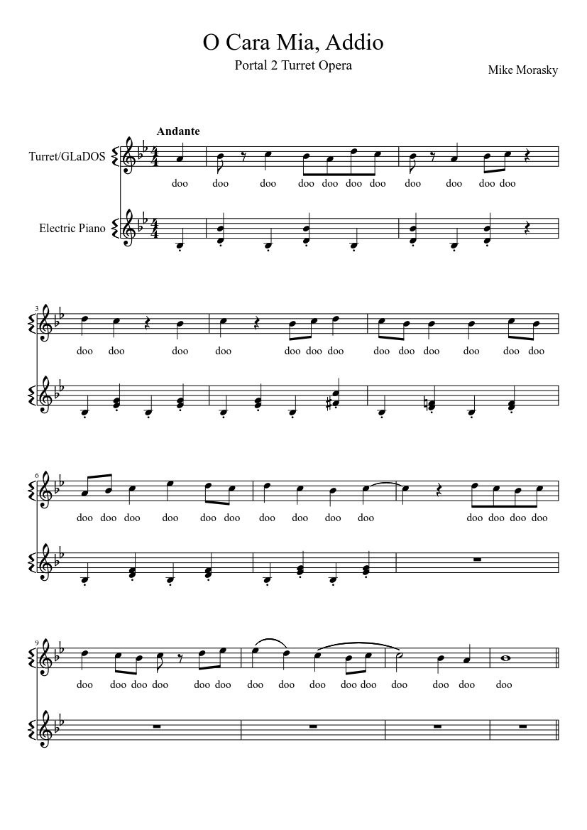 Portal 2 turret opera sheet music for flute, voice download free.
