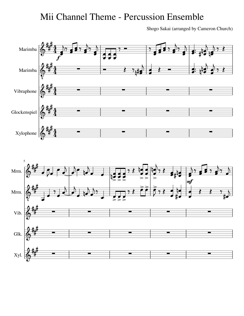 Mii Channel Theme Percussion Ensemble Sheet Music For Percussion