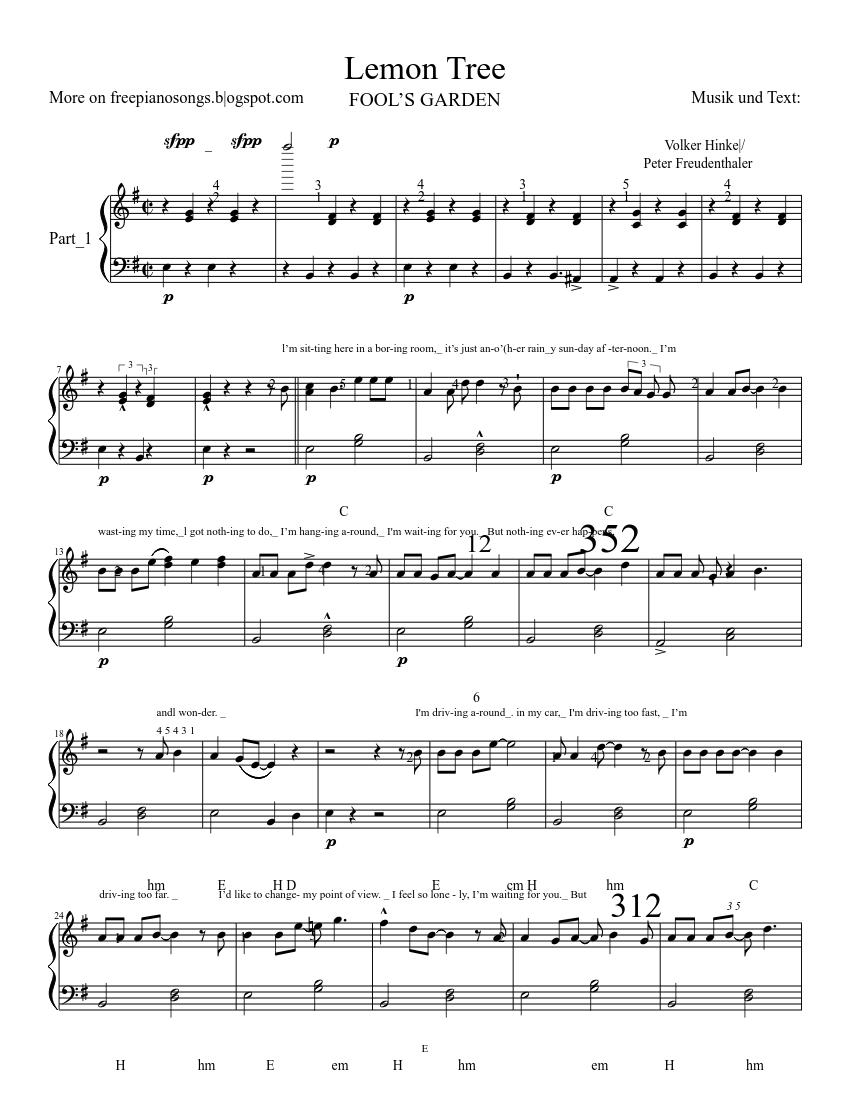 Lemon Tree 1 Sheet Music For Piano Solo Musescore Com