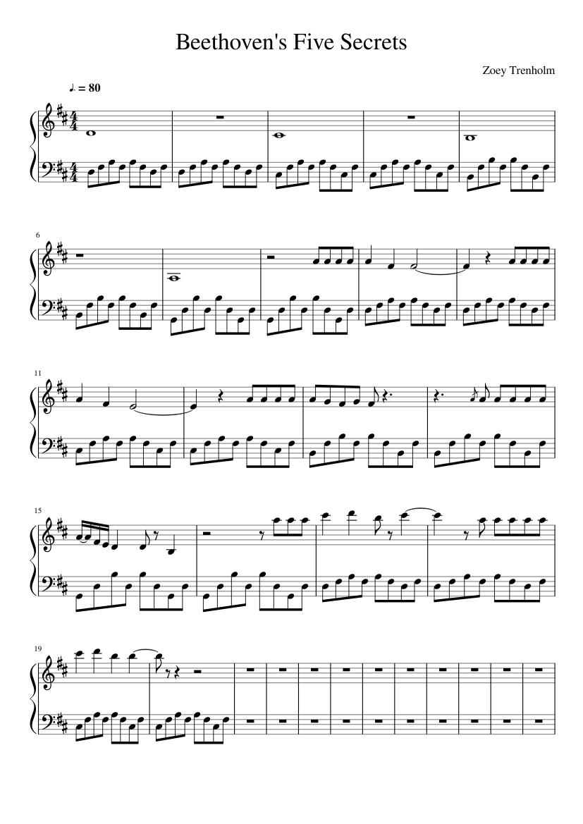 Beethoven's 5 Secrets Sheet Music   The Piano Guys   Piano ...