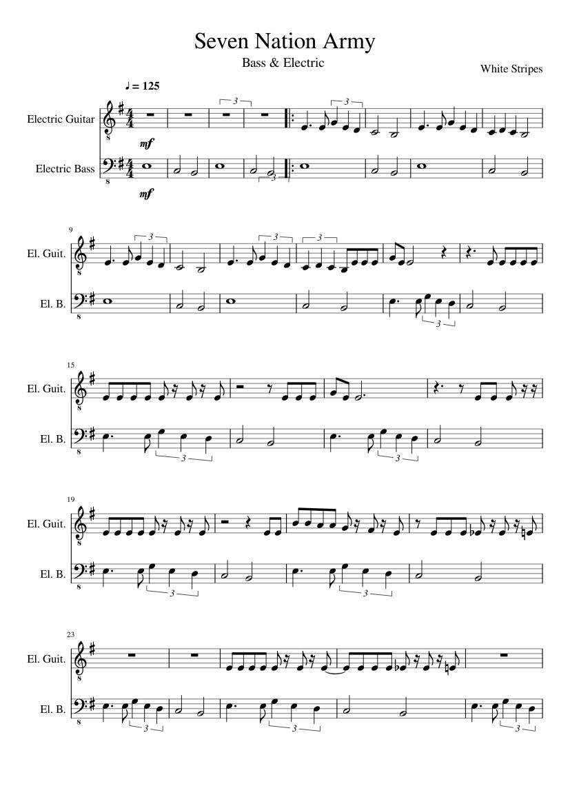 Acustic Guitar Sheet Music : seven nation army acoustic sheet music for guitar bass download free in pdf or midi ~ Vivirlamusica.com Haus und Dekorationen