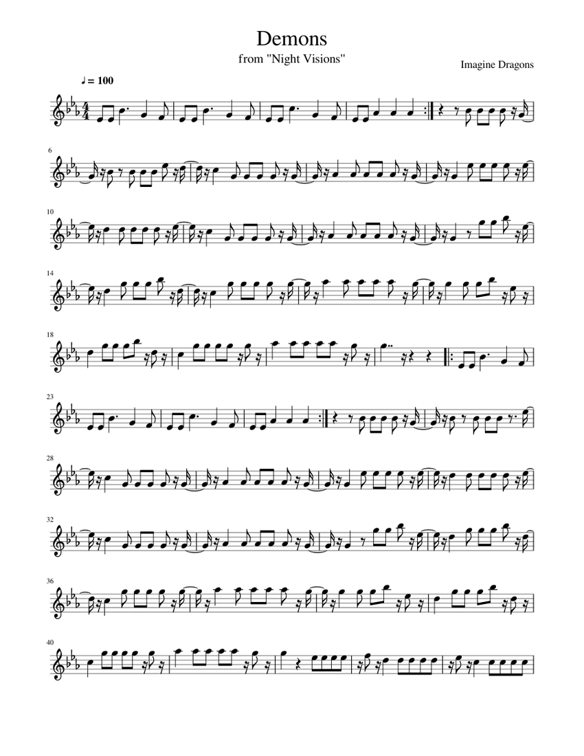 Demons By Imagine Dragons Sheet Music For Flute Solo Musescore Com