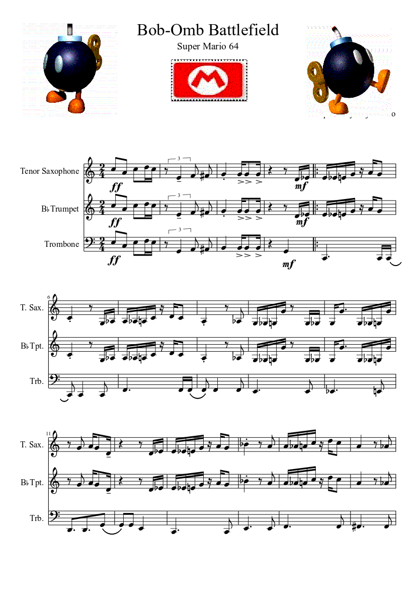 Bob-omb battlefield adaptation sheet music download free in pdf or.