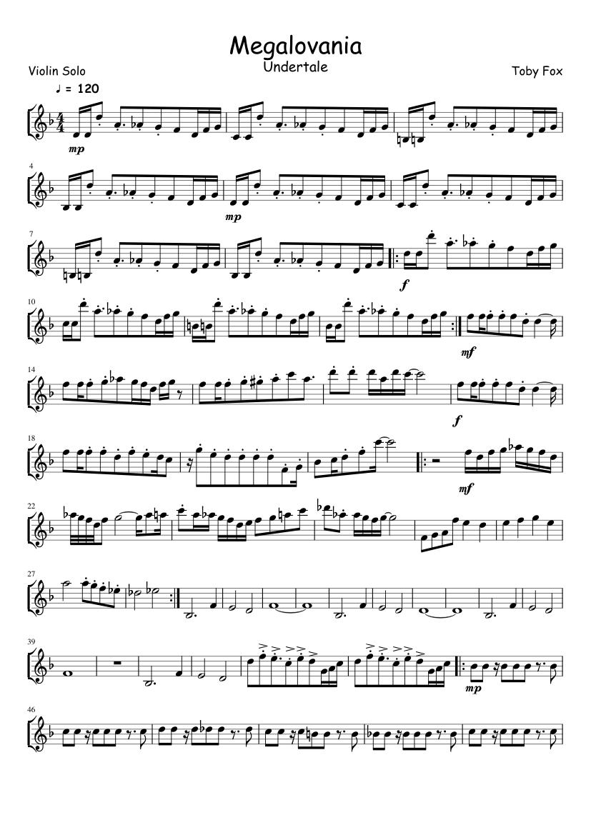 Megalovania Violin Solo Sheet Music For Violin Download Free In Pdf