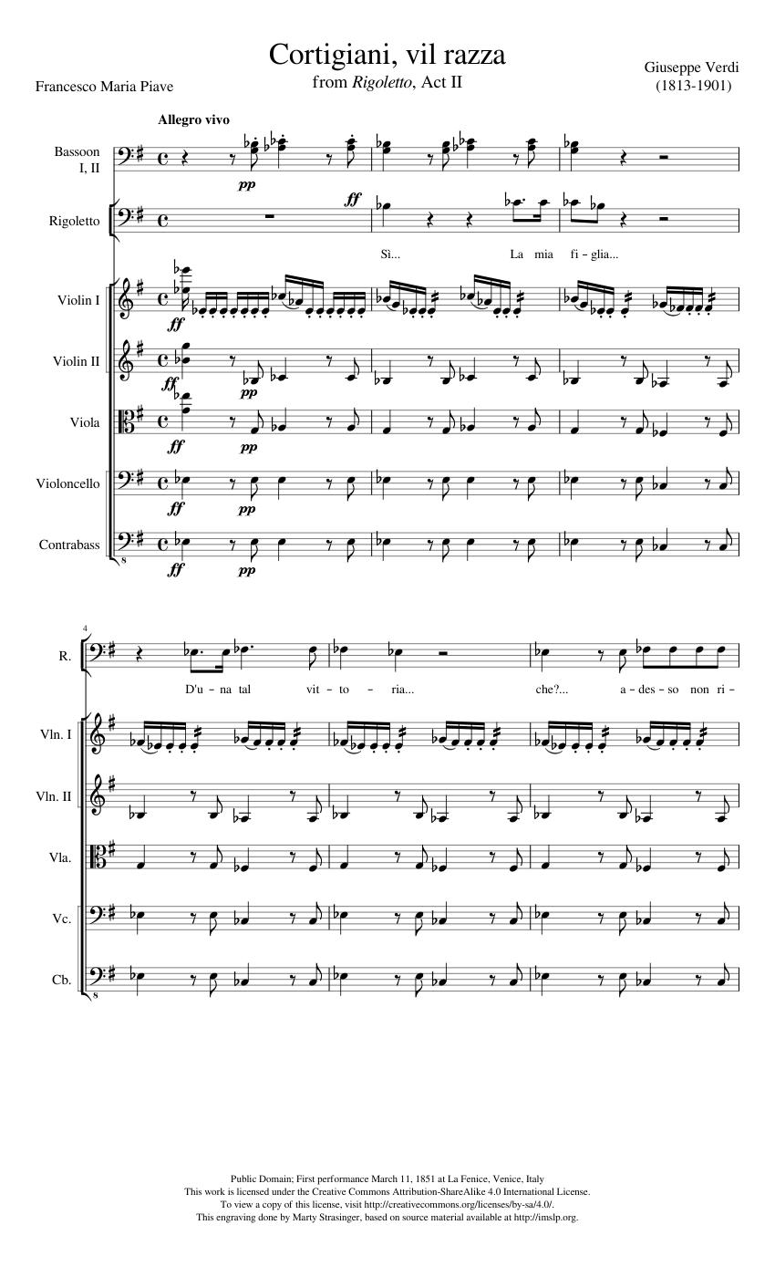 Rigoletto Cortigiani Vil Razza Sheet Music For Violin Flute Clarinet In B Flat French Horn More Instruments Mixed Ensemble Musescore Com
