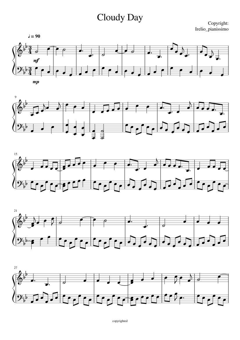 cloudy day music sheet   browse world best music sheet online  unierize open university