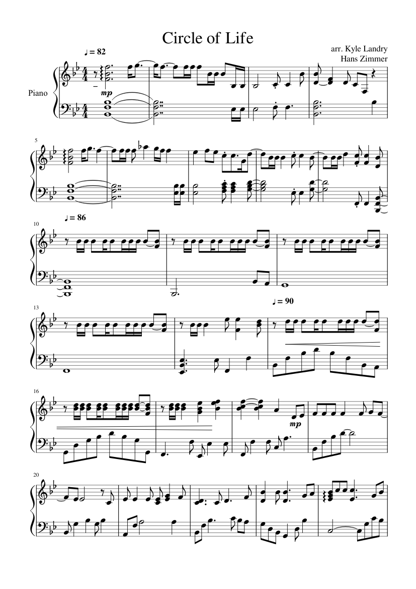 Circle Of Life Sheet Music For Piano Download Free In Pdf Or Midi