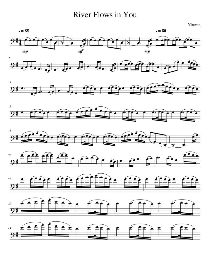 river flows in you sheet music for cello (solo)   musescore.com  musescore.com