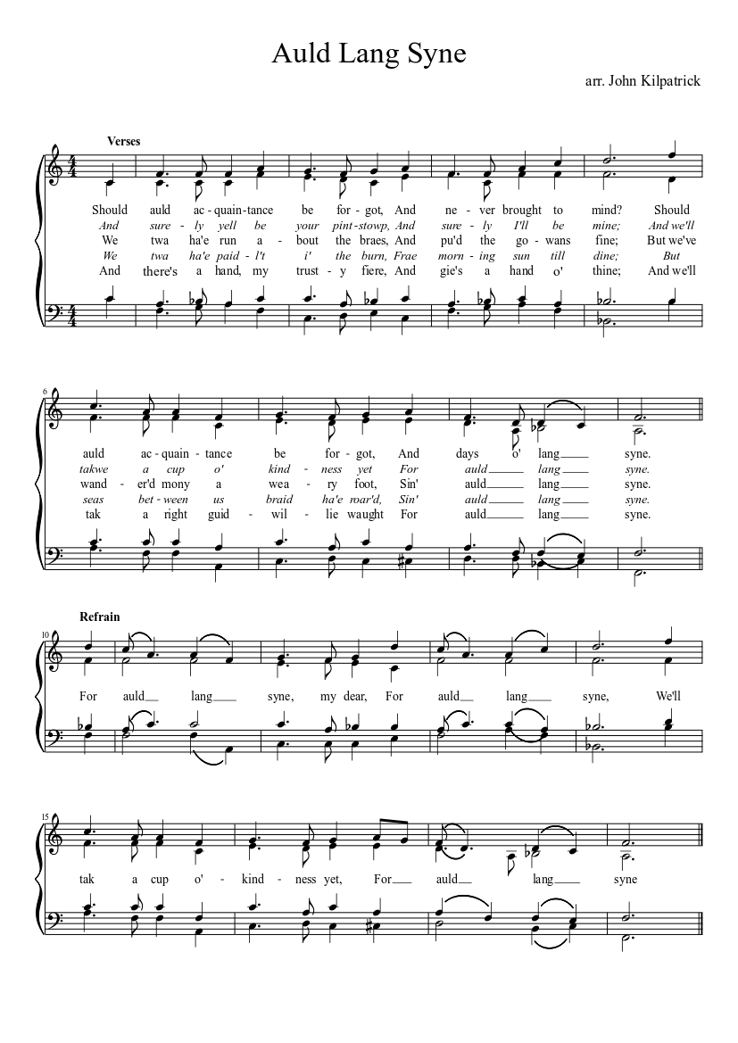graphic about Auld Lang Syne Lyrics Printable titled Auld Lang Syne sheet new music down load free of charge within PDF or MIDI