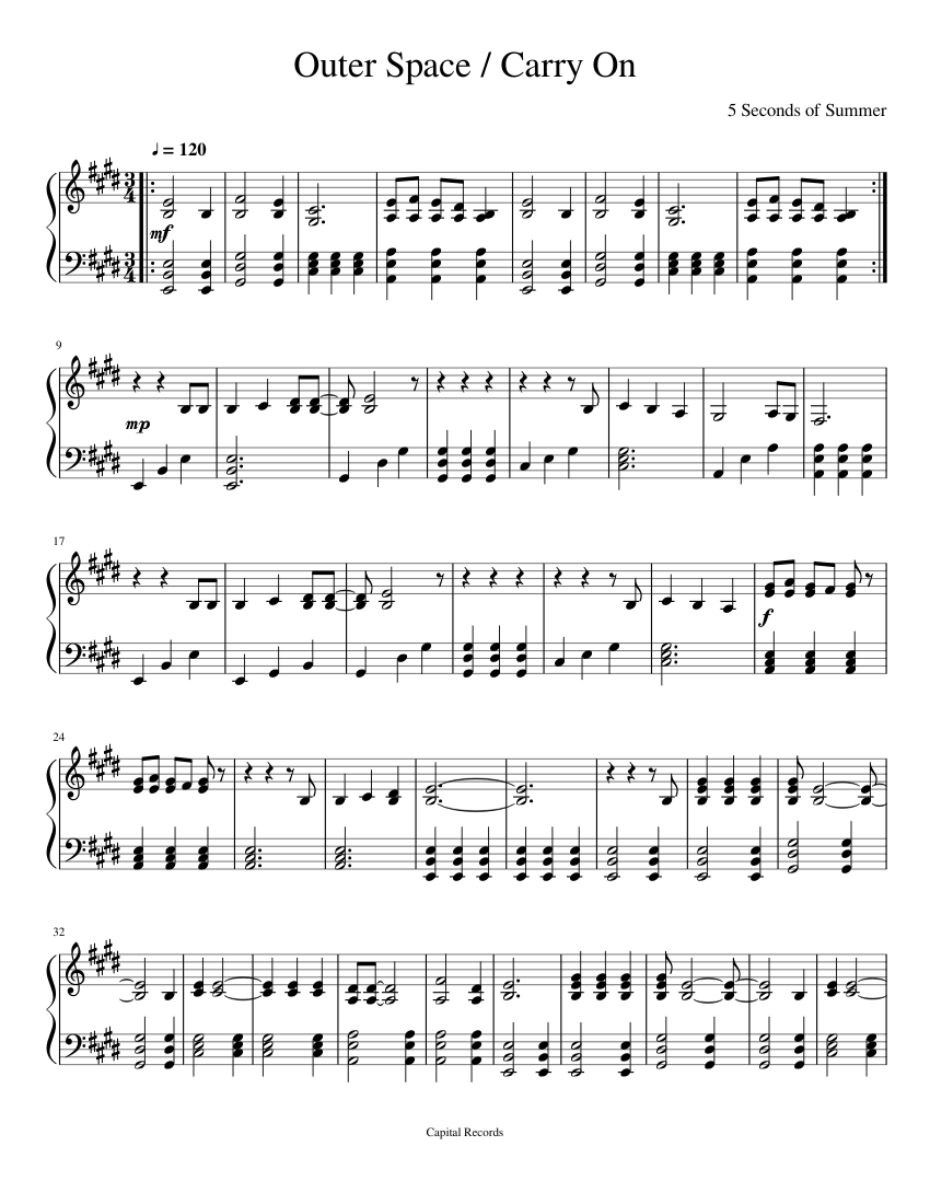 Outer Space Carry On By 5sos Sheet Music Download Free In Pdf Or Midi
