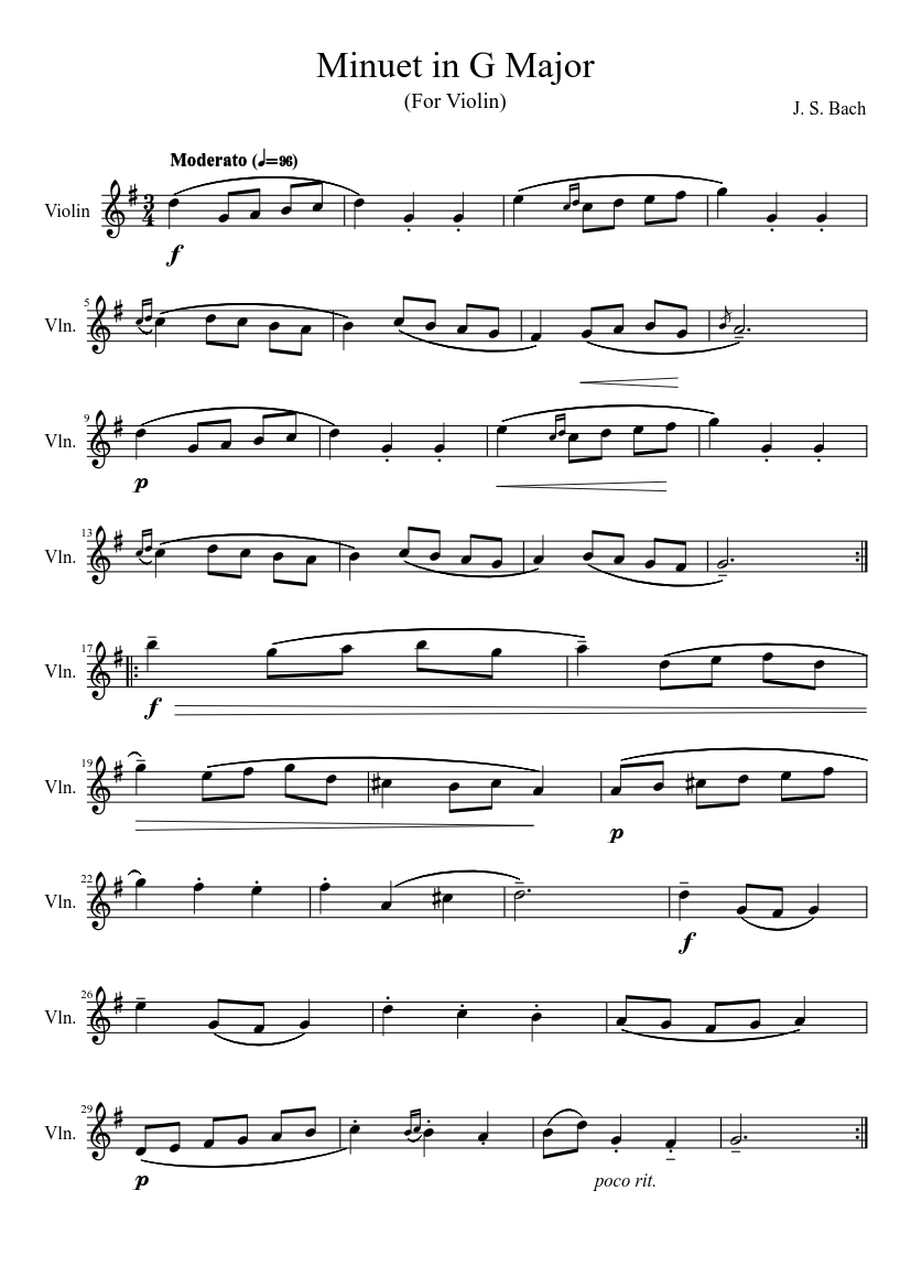 Bach Minuet In G Major Sheet Music For Violin Solo Musescore Com
