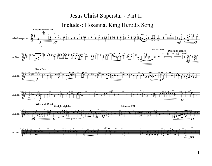 Selections from jesus christ superstar sheet music for guitar.